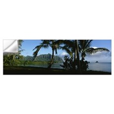 Palm trees on the waterfront, Kaneohe Bay, Oahu, H Wall Decal