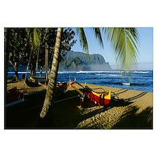 Catamaran on the beach, Hanalei Bay, Kauai, Hawaii