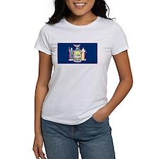 New York State Flag Women's White T-Shirt