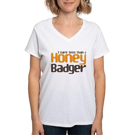 I care less than a Honey Badg Women's V-Neck T-Shi