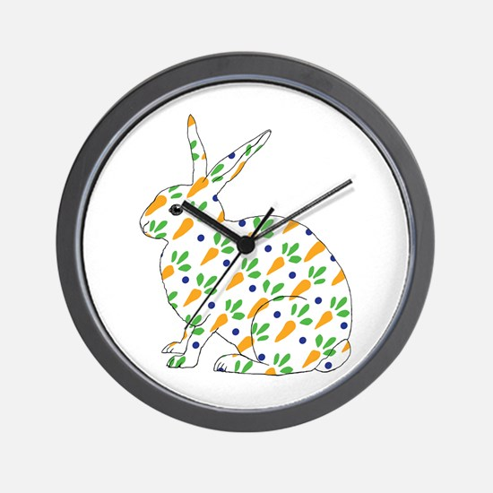 Carrot Calico Rabbit Wall Clock