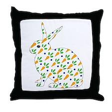 Carrot Calico Rabbit Throw Pillow
