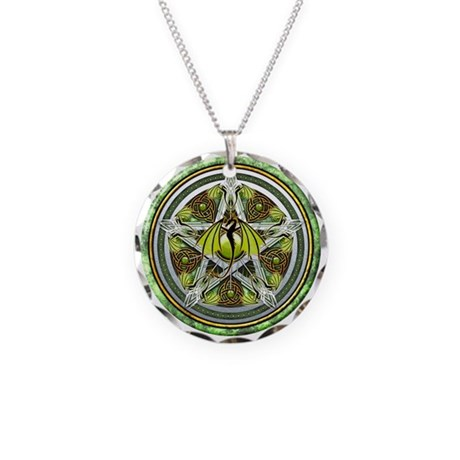 Celtic Earth Dragon Pentacle Necklace Circle Charm