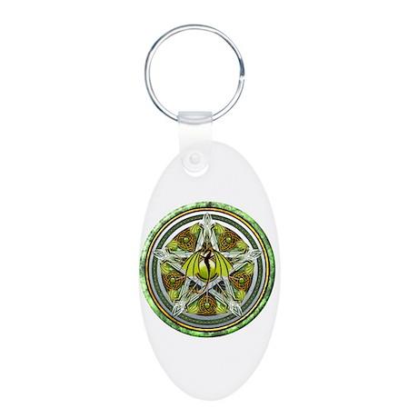 Celtic Earth Dragon Pentacle Aluminum Oval Keychai