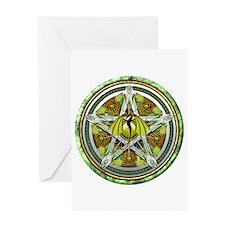 Celtic Earth Dragon Pentacle Greeting Card