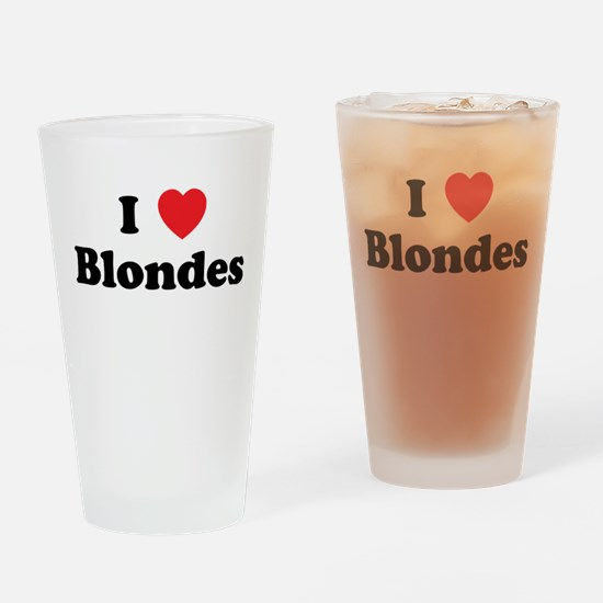 I Heart Blondes Drinking Glass