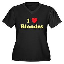 I Heart Blondes Women's Plus Size V-Neck Dark T-Sh