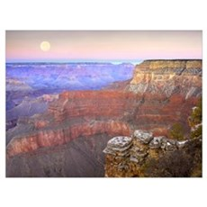 Full moon over the Grand Canyon at sunset as seen  Poster