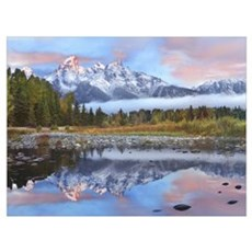 Grand Tetons reflected in lake Grand Teton Nationa Canvas Art