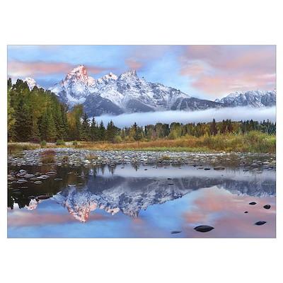 Grand Tetons reflected in lake Grand Teton Nationa Poster
