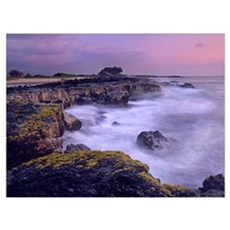 Ocean and lava rocks at sunset, Puuhonua, Hawaii Canvas Art