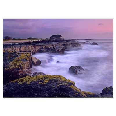 Ocean and lava rocks at sunset, Puuhonua, Hawaii Poster