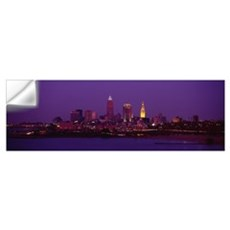 Buildings lit up at night, Cleveland, Ohio Wall Decal
