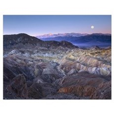 Full moon rising over Zabriskie Point, Death Valle Poster