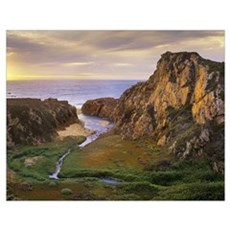 Garrapata Creek flowing into the Pacific Ocean, Ga Poster