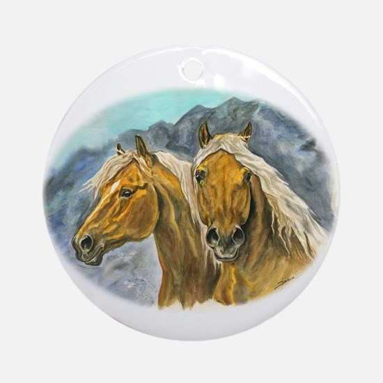 Painting of Haflinger horses Ornament (Round)
