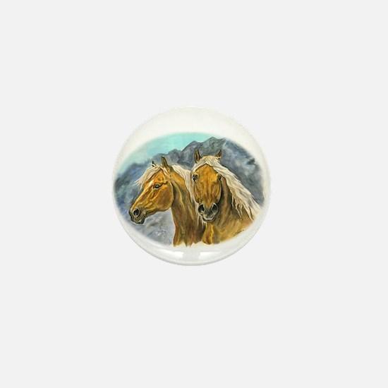 Painting of Haflinger horses Mini Button