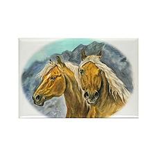 Painting of Haflinger horses Rectangle Magnet