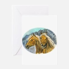 Painting of Haflinger horses Greeting Card
