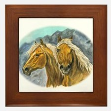 Painting of Haflinger horses Framed Tile