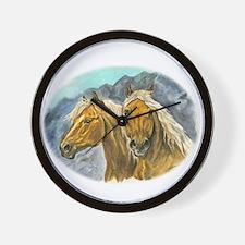 Painting of Haflinger horses Wall Clock