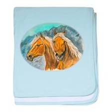 Painting of Haflinger horses baby blanket