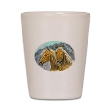 Painting of Haflinger horses Shot Glass