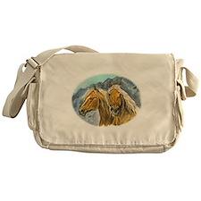 Painting of Haflinger horses Messenger Bag
