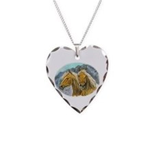 Painting of Haflinger horses Necklace
