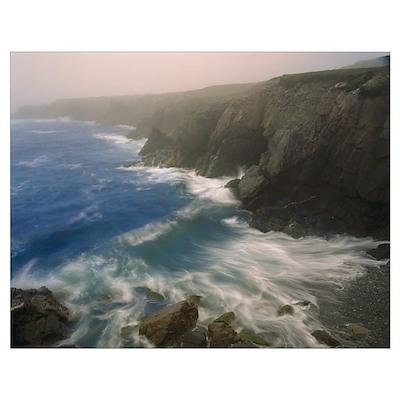 Coastline in fog, Cape Breton Island, Nova Scotia, Poster