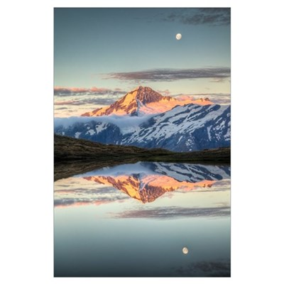 Mount Aspiring, moonrise over Cascade Saddle, Moun Poster