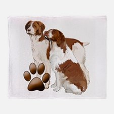 two brittaany spaniels Throw Blanket