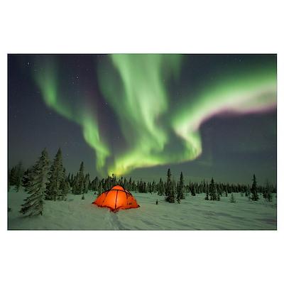 Northern lights or aurora borealis over illuminate Poster
