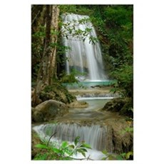 Seven Step Waterfall in monsoon forest, Erawan Nat Poster