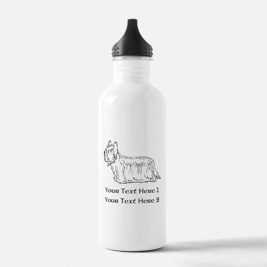 Skye Terrier. Custom Text Sports Water Bottle