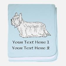 Skye Terrier. Custom Text baby blanket