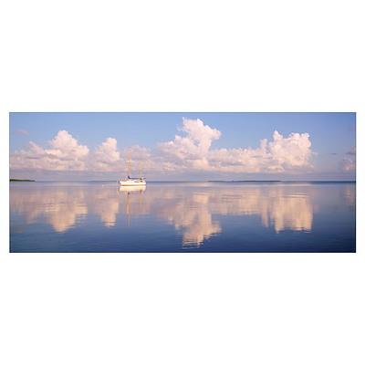 Florida, Florida Keys, Boat floating in sea Poster
