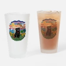 Autumn Sun-Black Pug #17 Drinking Glass