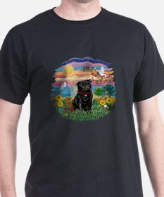 Autumn Sun-Black Pug #17 T-Shirt