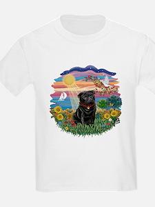 Autumn Sun-Black Pug #17 T-Shirt