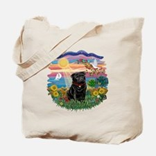 Autumn Sun-Black Pug #17 Tote Bag