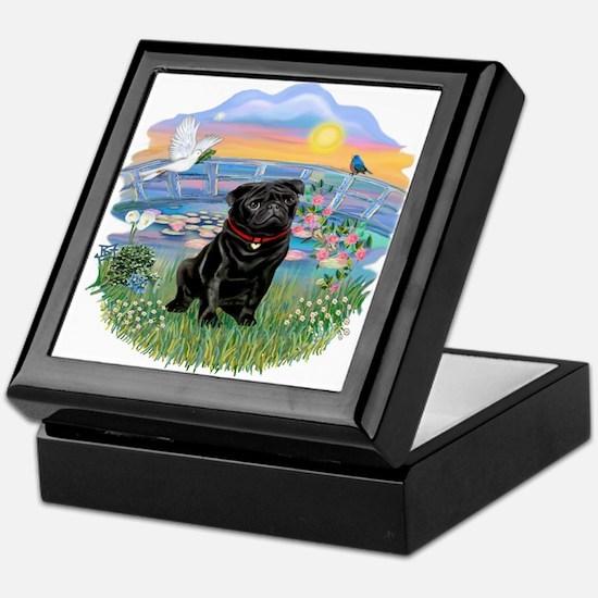 Sunrise Lilies-Black Pug #17 Keepsake Box