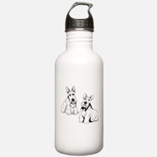 Two Scottish Terriers. Water Bottle
