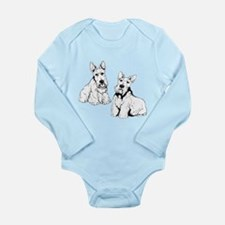 Two Scottish Terriers. Long Sleeve Infant Bodysuit