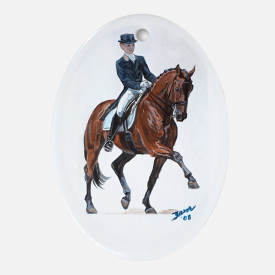 Dressage horse painting. Ornament (Oval)