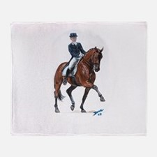 Dressage horse painting. Throw Blanket