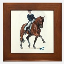 Dressage horse painting. Framed Tile