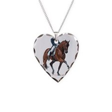 Dressage horse painting. Necklace Heart Charm