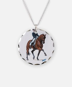 Dressage horse painting. Necklace