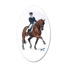 Dressage horse painting. 22x14 Oval Wall Peel